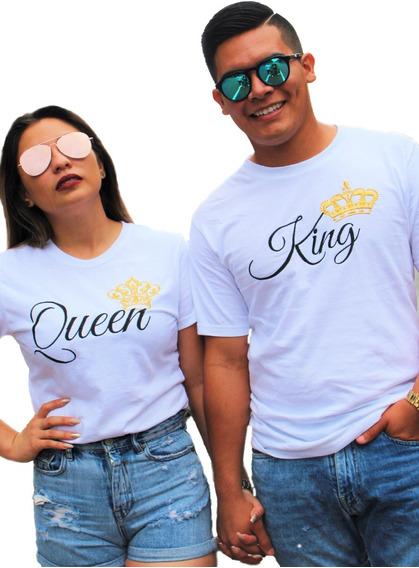 Dúo Queen King. Playeras Bordadas