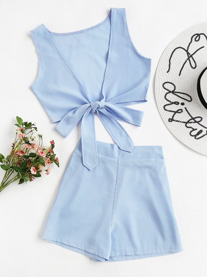 Bikini Jumpsuit, Short, Crop Top Azul Talla Grande