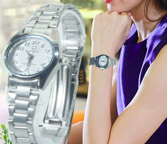 Relógio Feminino De Pulso Prateado Luxuoso Com Frete Grátis!