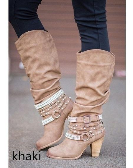Ultimo Par Botas Mujer Caña Alta Importadas Nuevas C/ Strass
