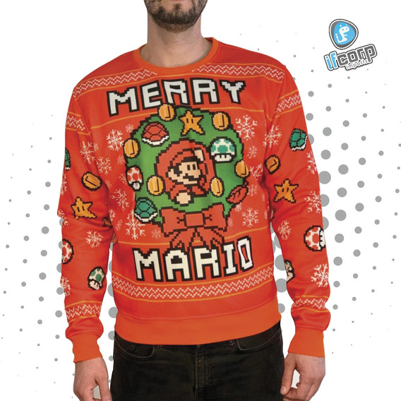 Merry Mario Bros Sueter Navidad Invierno Ugly Sweater