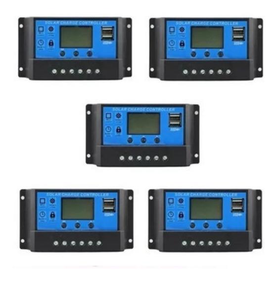 Kit 5 Controladores De Carga Solar Pwm 30a 12 E 24v