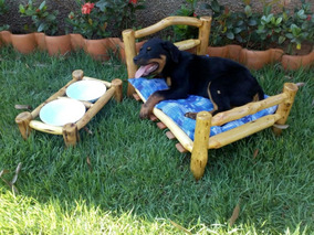 Cama + Comedouro ( 15 ) Cachorro - Madeira - Pequena 45 X 60