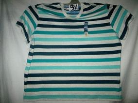 Camiseta Franjas Verdes Y Azules Talla 3x Faded Glory