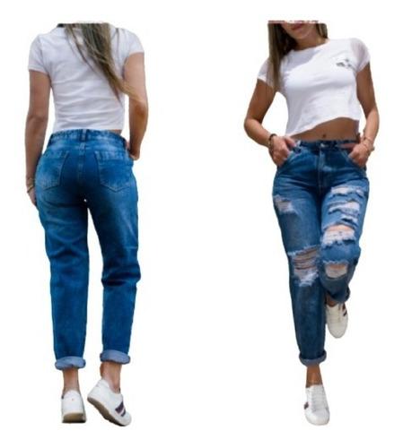 Pantalon Jean Boyfriend Con Rotos Para Dama Azul Y Negro