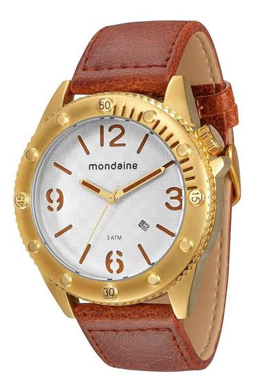 Relógio Mondaine Pul. Couro Calendário 76411gpmgdh2