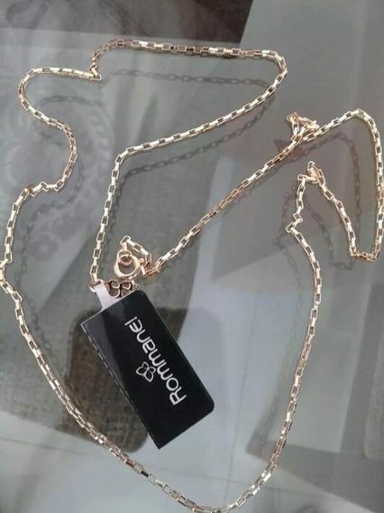 Cordão Rommanel Cadeado Masculino Folheado Ouro 60cm