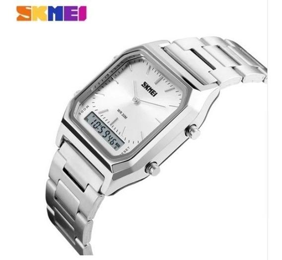 Relógio Social Skmei 1220 Analógico Digital Inox Quadrado