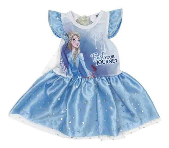 Vestido Algodon Con Estampado Disney Elsa