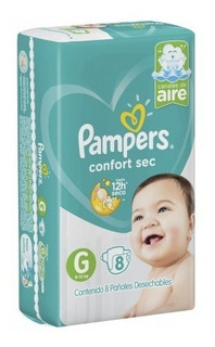 Pañales Pampers Confort Sec G 9-12,5kg X 8 Unidades Oferta