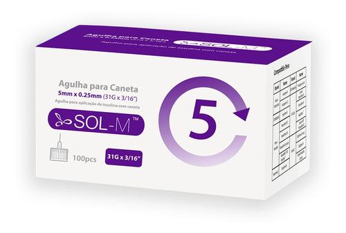 Imagem 1 de 9 de Agulha Para Caneta De Insulina 5mm 31g C/100un Sol-millenniu