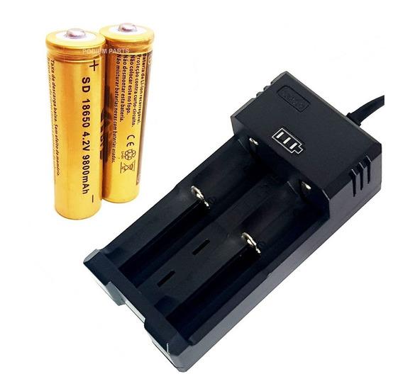 Kit Carregador + 2 Baterias Li-ion 18650 4,2v Lanterna Led