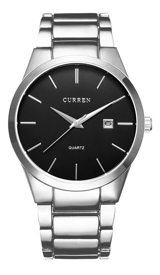 Reloj Curren Caballero Minimalista Elegante Fechador Silver