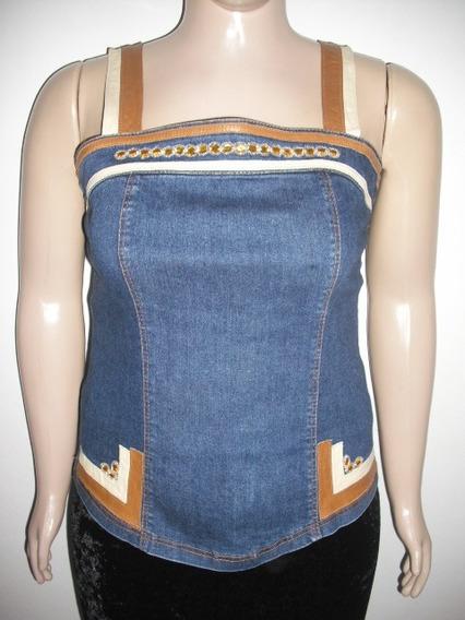 Blusa Cropped Jeans Led Jo Alça Couro Tam G Bom Estado