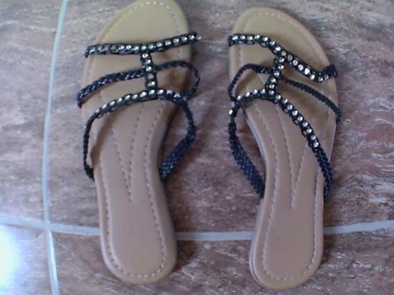 Sandalias Con Brillos Sin Taco Mujer N° 39 1 Postura