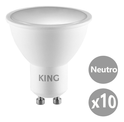 Imagen 1 de 5 de Pack X10 King Dicroica Led 5w Gu10 Neutro 4500k