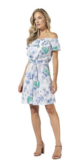 Vestido Anele Em Viscose Rayon Alto Verão Ombro A Ombro