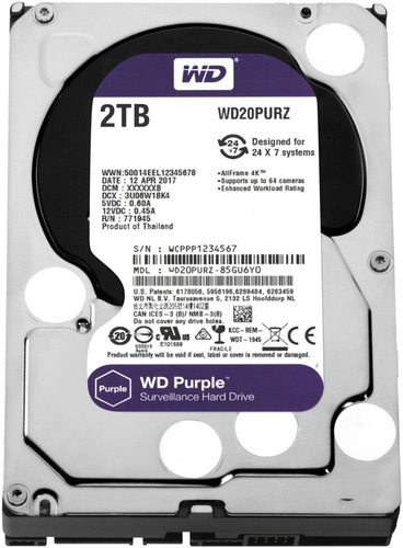 Imagen 1 de 8 de Disco Rigido Western Digital Wd20purz Purple 2tb Videovigila