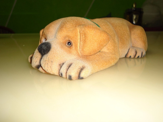 Enfeite Cachorro Revestido De Feltro Olhos De Vidro Antigo