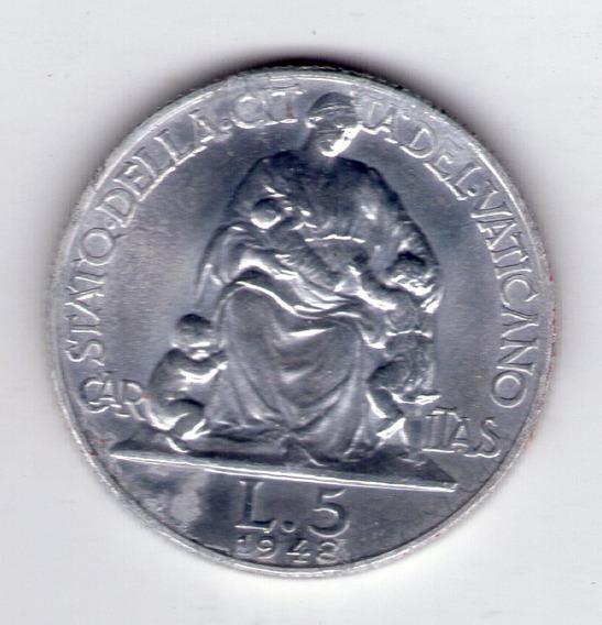 Vaticano 5 Liras Año 1948 Papa Pio Xii Sin Circular