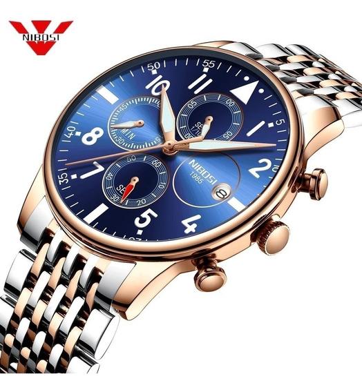 Relógio Masculino Nibosi 2368 Dourado/prata E Azul