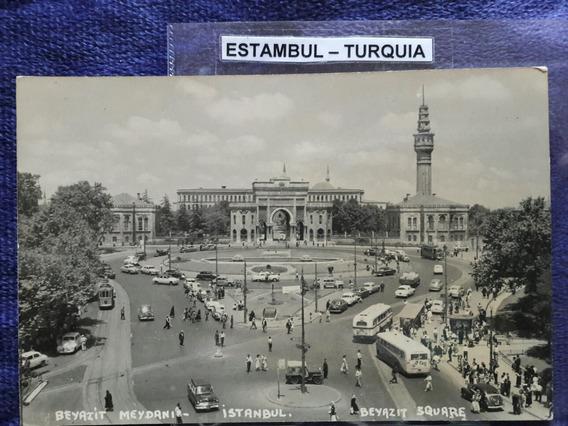 Antigua Postal De Estambul Turquía Con Autos Antiguos