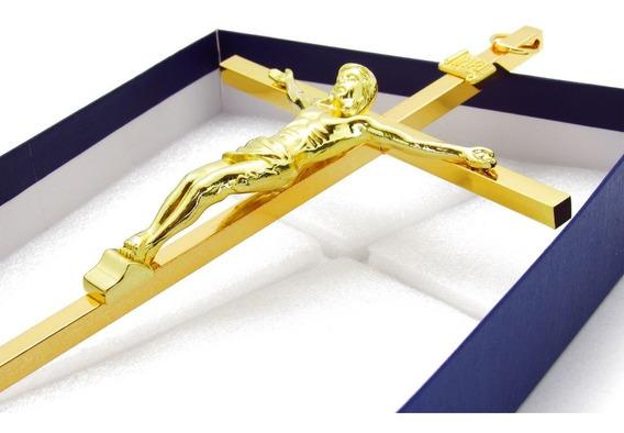 Cruz Crucifixo Metal 30 Cm Prata E Dourado - Lançamento