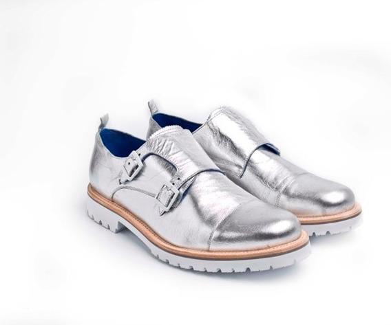 Lote 9 Unidades De Zapatos New York Cuero Plateado