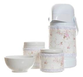 Kit Higiene 4 Peças Garrafa Porcelana Molhadeira Rosa Menina