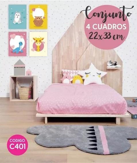 4 Cuadro Infantil Decorativos 33x22 Cm