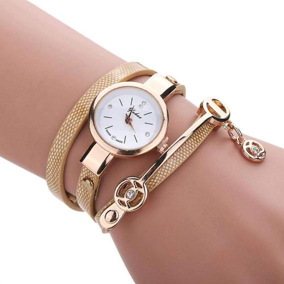 Relógio Feminino Pingente Alça Dourado Pulseira Luxo Moda