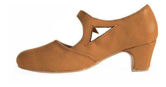 Zapatos De Folclore Y Español En Cuero Camel