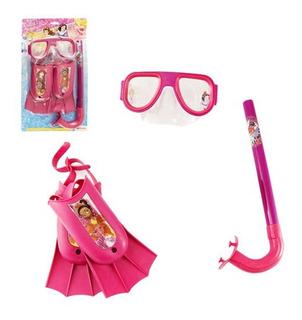 Kit Mergulho Infantil Princesas Disney 3 Peças Criança