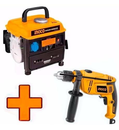Kit Generador A Nafta Ingco 800w + Taladro Percutor 750w Ff