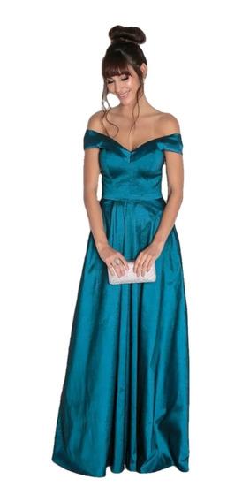Vestido Madrinha Festa Longo Decote Coração Azul Petróleo
