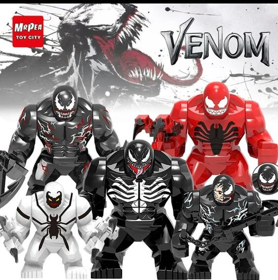 Venom Kit Com 7 Bonecos Variados + Placa Exposição Tipo Lego