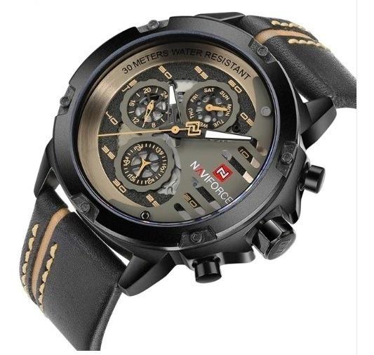 Relógio Masculino Naviforce 9110 Original Pulseira De Couro