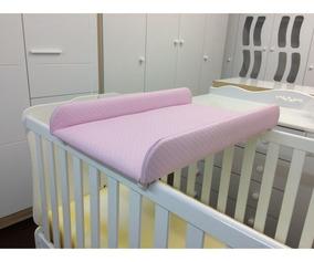 Trocador De Fraldas Almofadado Para Berço Corino Rosa Bebê -
