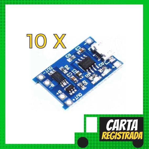 10 X Módulo Carregador Baterias Lítio Tp4056 18650
