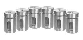 Kit Com 6 Porta Tempero Condimentos Potes De Vidro Inox