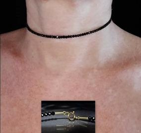 Pedras - Colar Choker Espinélios Negros, Ouro, Cód229c117