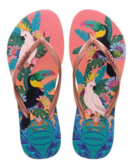 Sandálias Havaianas Chinelo Feminino Slim Tropical Rosa Seda