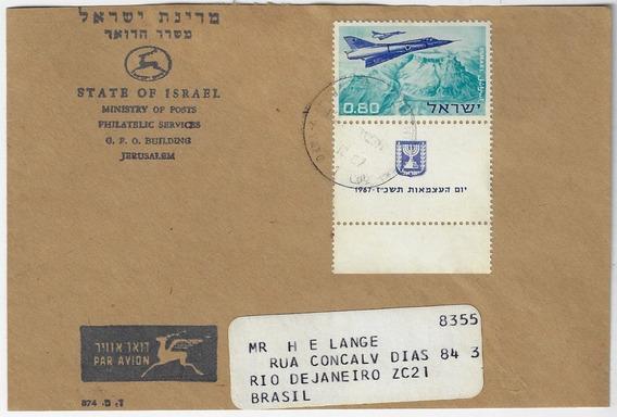 Israel 1967 Envelope Selo Dia Da Independência Avião Tab