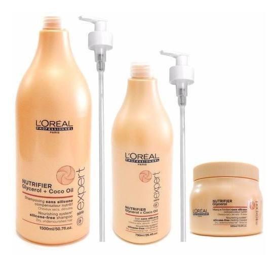 Kit Nutrición Loreal Nutrifier Shampoo + Enjuague + Mascara