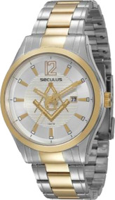 Relógio Masculino Maçonaria Seculus Bicolor 20171gpsvba2