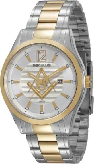 Relógio Masculino Seculus Maçonaria 20171gpsvba2 Prateado