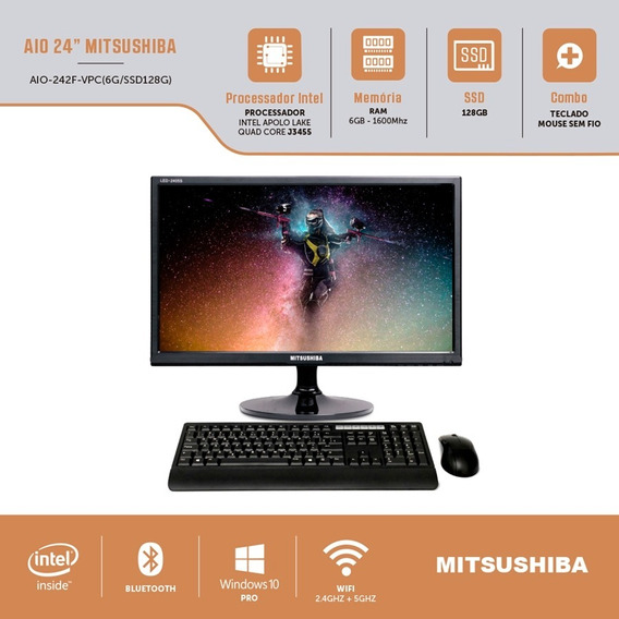 Computador All In One Intel Celeron Quad Core 6gb Ssd 128gb 24 Windows Pro Mitsushiba.