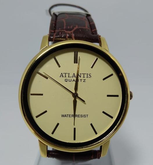 Relógio Atlantis Dourado Pulseira Em Couro Marrom - G3416