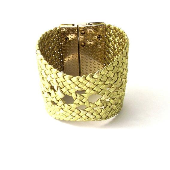 Bracelete Largo Feminino Em Couro Dourado C/ Metal Reveillon