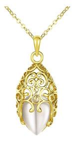 Colar Feminino Semijoia Banhado Em Ouro 18k + Pedra Opala